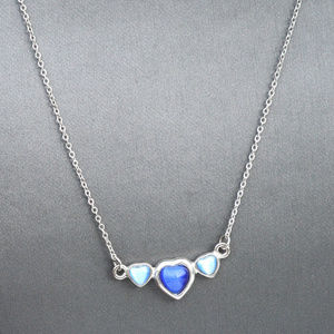 Silver Blue Heart Necklace Pendant Double Love